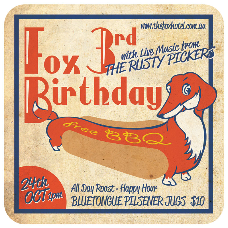 Beermat artwork for The Fox Hotel | GRAPHIC DESIGN | ILLUSTRATION