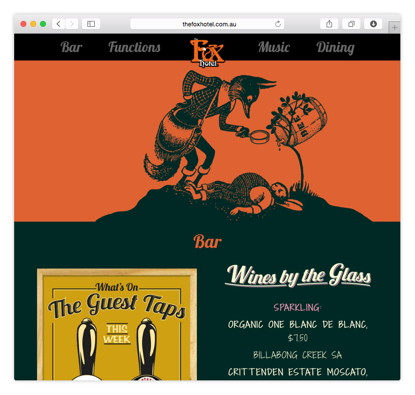 The Fox Hotel | RESPONSIVE WEB DESIGN | ONE PAGER | CMS