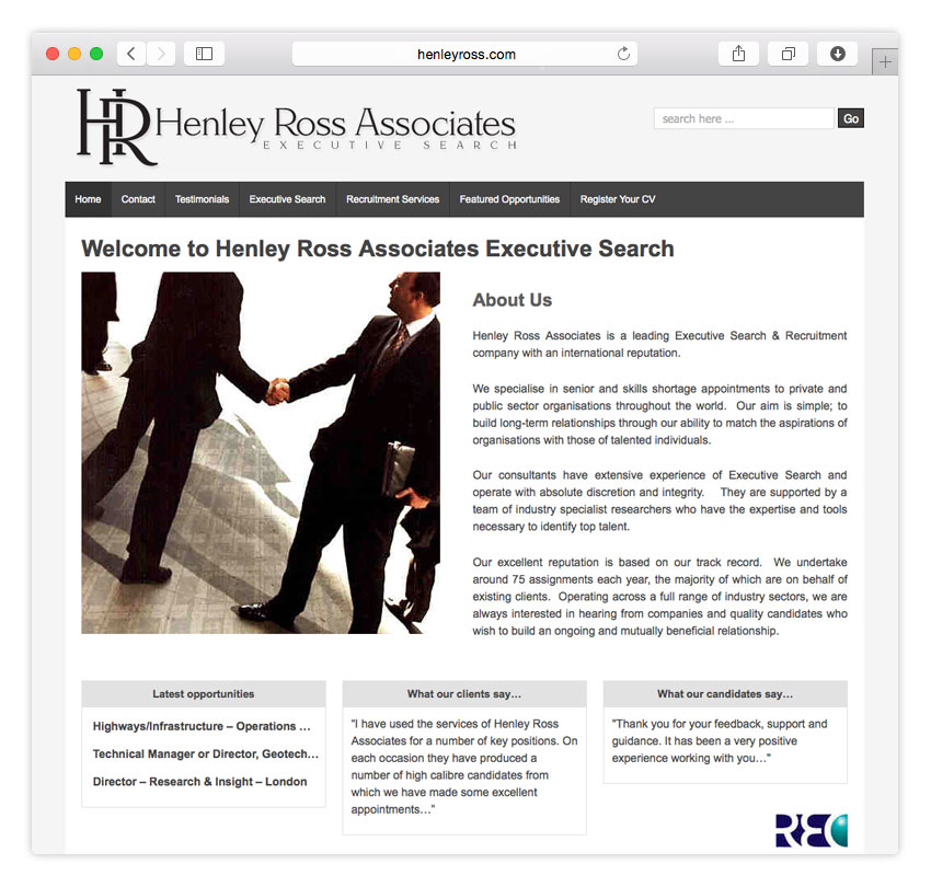 Henley Ross Executive Search | WEB DESIGN | CMS