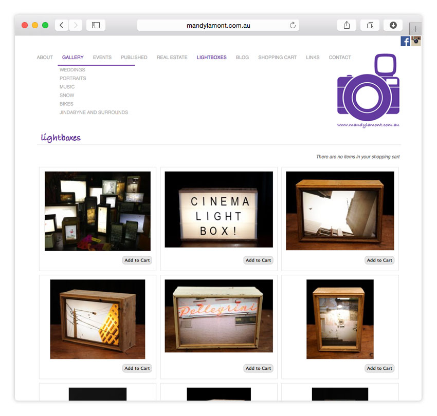 Mandy Lamont Photography | ECOMMERCE | WEB DESIGN | CMS