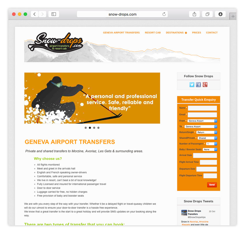 Snow Drops Airport Transfers | RESPONSIVE WEB DESIGN | CMS
